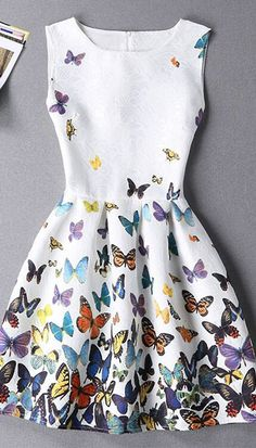 Stylish Sleeveless Round Neck Butterfly Print Mini Dress For Women Women's Dresses, Stylish Dresses, Cute Dresses, Casual Dresses, Short Dresses, Fashion Dresses, Summer Dresses, Dresses Online, Fashion Clothes