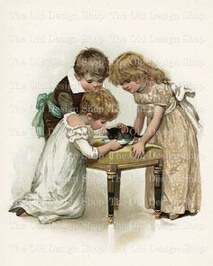 A Round Robin Vintage Storybook Image Digital Download Children Feed Kitten