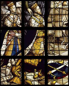 A stained glass window depicting Queen Mary I of England (at the age of beside her husband, Philip II of Spain. Royal Houses Of England, Mary I Of England, Queen Of England, Tudor History, British History, Enrique Viii, Henry Viii, King Henry, Queen Mary