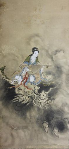 Mythic painting depicting the goddess Benzaiten mounted on the back of a large white dragon playing a biwa; attributed to Tani Buncho (1763-1840).