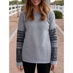 Casual Scoop Neck Geometric Print Spliced Thick Sweatshirt For Women - GRAY L
