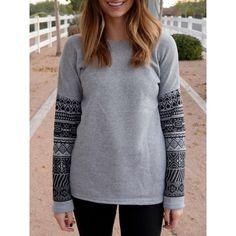 Casual Scoop Neck Geometric Print Spliced Thick Sweatshirt For Women - GRAY L