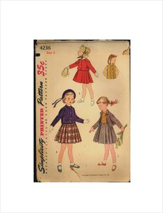 58144d6eca3 Part Cut 50s Size 2 Breast 21 Girls Suspender Skirt Jacket Blouse  Simplicity 4236 Vintage Sewing