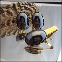 Vintage Cufflinks Admirable Hematite w Tie Clasp 1960s Mens Jewelry $95