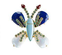 Bounkit Pin with Lapis, Garnet, Blue Lace Agate amd Blue Quartz