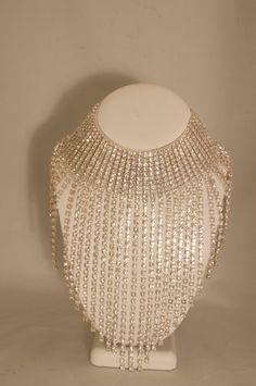 Stunning vintage clear rhinestones statement necklace drag queen style
