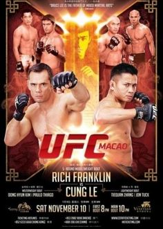 Cung Le stops Rich Franklin with first round KO at UFC Macao; full results - The Ultimate Fighting Championship made their debut in China Saturday at Cotai Arena in Macao as former UFC middleweight champ Rich Franklin squared off with action film star and former Strikeforce middleweight champion Cung Le in the UFC Macao (UFC on Fuel TV 6) main event.