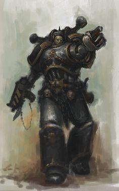 Black Legion Chaos Marine by MasterAlighieri on DeviantArt Warhammer 40k Rpg, Warhammer Models, Warhammer Fantasy, Space Marine, Fantasy Warrior, Fantasy Art, Marvel, Sci Fi Art, Dark Art