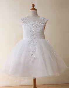 Ball Gown Crew Tulle Flower Girl Dresses