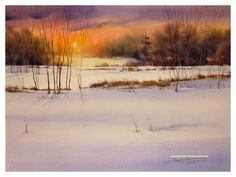 """That Winter Glow"" ~ Sterling Edwards Watercolor Scenery, Watercolor Landscape, Watercolor Paintings, Watercolours, Winter Painting, Winter Art, Winter Snow, Scenery Paintings, Landscape Paintings"