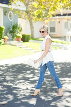 Belted white vest and distressed denim-Kacee from Life with Lipstick On