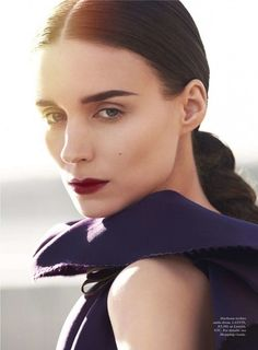 Bold brows and bordeaux lips (Rooney Mara for Elle January 2016 by  Cedric Buchet)