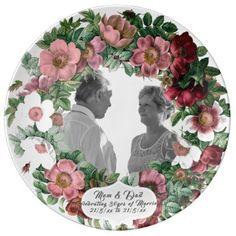 30th Wedding Anniversary PHOTO Commemorative Named Porcelain Plate - wedding decor marriage design diy cyo party idea