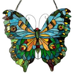 River of Goods Swallowtail Butterfly Tiffany Style Stained Glass Window Panel & Reviews | Wayfair