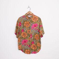 #Vintage #80s #90s #grunge #ROSE #FLORAL #LEOPARD print #OVERSIZED #shirt #blouse top S/M/L/XL #Roses #FloralShirt #LeopardPrint #AnimalPrint #Oversize #OversizedShirt #OversizeShirt #Slouchy #Ebay #TrashyVintage $28.00
