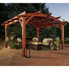 Sonoma 12 x 16 ft. Arched Wood Pergola - Redwood - Pergolas at Hayneedle