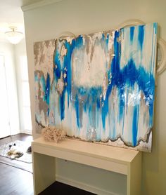 Canvas Painting Gray Silver Blue Ikat Ombre by BlueberryGlitter