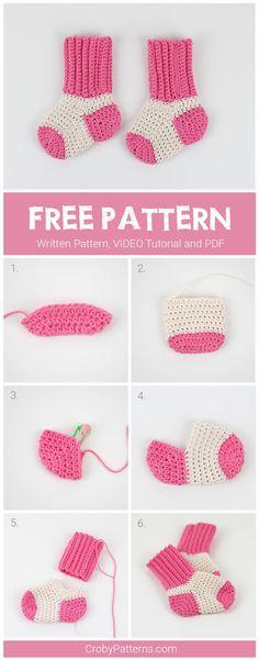 Cute Crochet Baby Socks Pattern by Croby Patterns