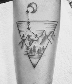 #cancer #tattoo #mountains #constellation #moon #pinetrees #water #zodiac #cancerian