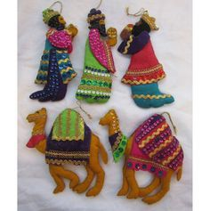 vintage elephants and camels felt ornaments - Google Search