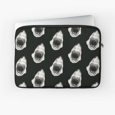 'White Shark' Laptop Sleeve by calamarisky Shark S, Sleeve Designs, Back To Black, Laptop Case, Cotton Tote Bags, Laptop Sleeves, Classic T Shirts, Plush, My Arts