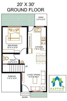 Vastu Complaint 1 Bedroom (BHK) Floor plan for a 20 X 30 feet Plot Sq ft or 67 Sq Yards). Check out for more 3 BHK floor plans and get customized floor plans for various plot sizes 2bhk House Plan, Small House Floor Plans, Model House Plan, Simple House Plans, House Layout Plans, Duplex House Plans, Duplex House Design, Shop House Plans, Bedroom House Plans