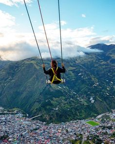"@thebroabroad tells us ""Baños is the #1 destination in the world for swingers! In my opinion, this swing is better than the more famous Casa Del Arbol, about 4km up the road. You can find this swing cliffside on the road up to Hotel Luna Runtun.  Baños de Agua Santa, Ecuador  Thanks for the tip! @thebroabroad check out his adventures and #discoversouthamerica"