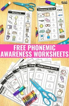 Teach Your Child To Read - FREE phonemic awareness worksheets.these activities are perfect for kindergarten and first grade! Beginning sounds sorts, rhyming and more! - TEACH YOUR CHILD TO READ and Enable Your Child to Become a Fast and Fluent Reader! Teaching Phonics, Phonics Activities, Kindergarten Literacy, Early Literacy, Teaching Reading, Literacy Centers, Emergent Literacy, Reading Games, Free Phonics Worksheets