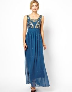 Frock and Frill Maxi Dress with Floral Beading - Like downton abbey!