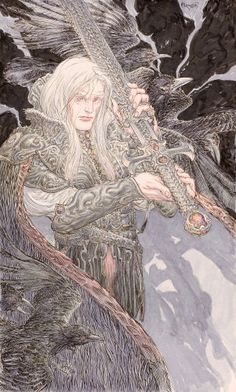 MICHAEL W. KALUTA - Elric of Melniboné, To Rescue Tanelorn book illustration, 2007