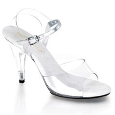 "Fitness Competition Shoes - Sexy Clear 4"" High Heels Sandals Open Toe Dancer Shoes"