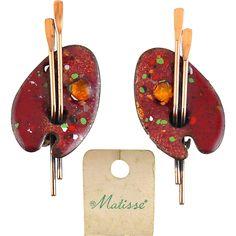 1950's MATISSE Renoir Red & Multi Enamel Artist Palette Earrings, Clip On. https://www.pinterest.com/rubylanecom/vintage-jewelry-25-or-less/