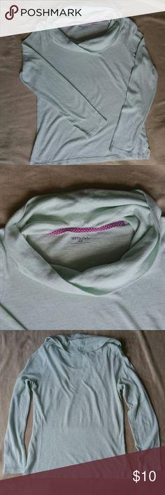 Mint Cowl Neck Sweater Beautiful, lightweight mint sweater. Flattering drape and cowl neck. Only worn twice. Merona Sweaters