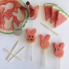 Happy Easter everyone! Making frozen watermelon popsicles with my bunnie cutouts. #easter #watermelon #popsicle