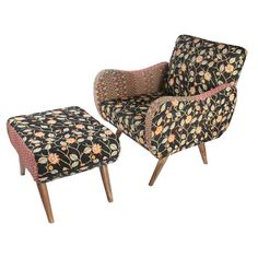 Bring a touch of bohemian style to your decor with this exotic arm chair and ottoman, crafted from mango wood and showcasing vintage kantha cloth upholstery....