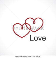 two intertwined hearts. symbol of love - stock vector
