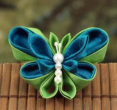 RESERVED Kanzashi Butterfly Brooch - Peacock and Lime