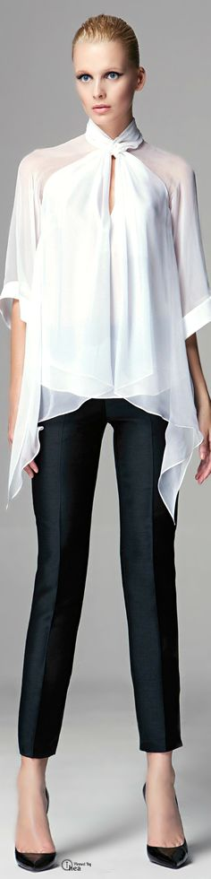 Zuhair Murad ● White blouse, black pants