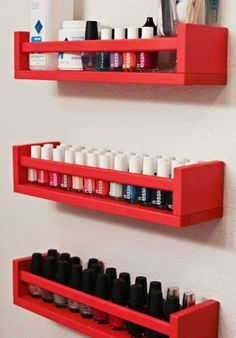 Next time you go to IKEA, you'll be bound to pick up at least one of these things. // Ikeas BEKVAm spice rack as a nailpolish storage