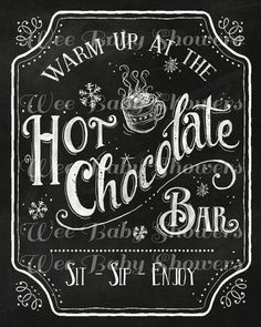 Hot Cocoa Bar Sign Hand drawn Chalkboard Hot by WeeBabyShower Christmas Hot Chocolate, Christmas Coffee, Christmas Signs, Christmas Stuff, Xmas, Choclate Bar, Hot Chocolate Bars, Hot Chocolate Quotes, Chocolate Work