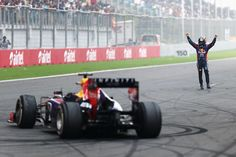 Vettel celebrates after 4th championship win, India 2013