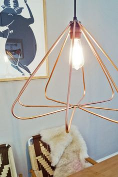 Soft-cut copper is key for making this geometric-inspired pendant light.