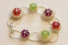 White and Silver Button and Bright Flower by CinnamonandSilver