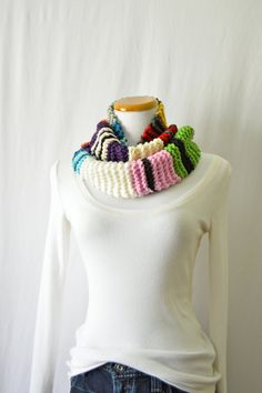 Striped Merino Wool Knitted Cowl Scarf / Bulky by HanksAndNeedles