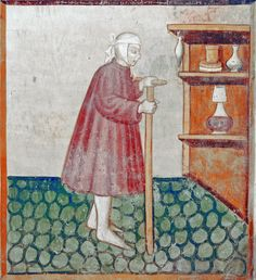 https://flic.kr/p/e8cgCN | August - The sick man walking on a crutch to his sideboard with medicines | August - The sick man walking on a crutch to his sideboard with medicines Frescoes with the labors of the months Santa Maria del Castello Mesocco, Ticino, Suisse Original photo by courtesy of Renzo Dionigi, color-modified by p.a.