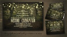 Rustic and romantic wedding invitation with tree path in forest & hanging string lights. Beautiful rustic country wedding suite, perfect for true nature lovers. Forest Wedding Invitations, Diy Invitations, Wedding Stationery, Wedding Bands For Him, Our Wedding, Wedding Suite, Wedding Ideas, Trendy Wedding, Wedding Venues