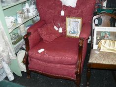 Burgandy ReUpholstered Wood-Frame Vintage Chair - BEAUTIFUL, Sturdy Classic at Scranberry Coop in Andover NJ