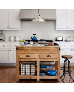 Reclaimed Pine and Marble Double Kitchen Island