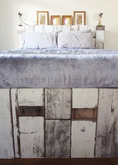 Ikea Brimnes bed wallpapered headboard and footboard