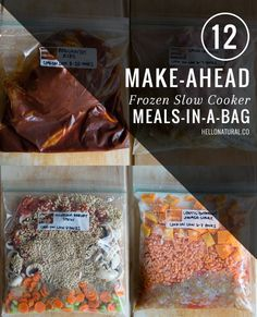 12 Make-Ahead Slow Cooker Freezer Meals - some interesting healthy ingredients that I should try in the crockpot (barley, lentils, etc). Slow Cooker Freezer Meals, Make Ahead Freezer Meals, Crock Pot Freezer, Freezer Cooking, Crock Pot Cooking, Quick Meals, Slow Cooker Recipes, Cooking Recipes, Healthy Recipes